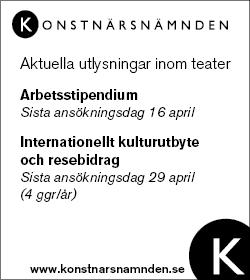 stipendium, bidrag, Konstnärsnämnden, Teatertidningen